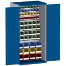 bott cubio Systemschrank mit Flügeltüren + 60 Sichtlagerkästen, Perfo®-Lochung, 1050 x 650 x 2000 mm