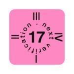 """ESD Folien-Fälligkeitsaufkleber """"2017"""" für ESD-Arbeitsplätze, englisch, 15 x 15 mm (30 Stück)"""
